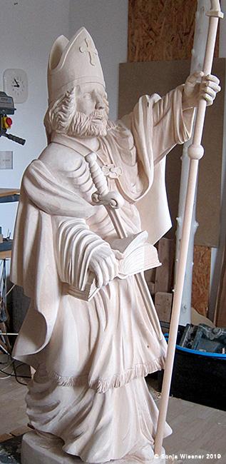 Heiliger Bonifatius, unbemalt, Ahorn, ca. 150cm