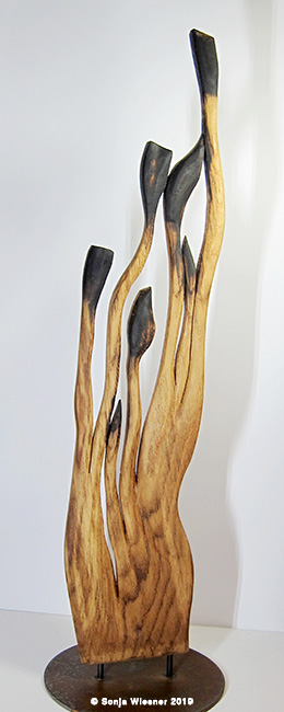 Skulptur, Eiche, zweiseitig, ca. 70 cm