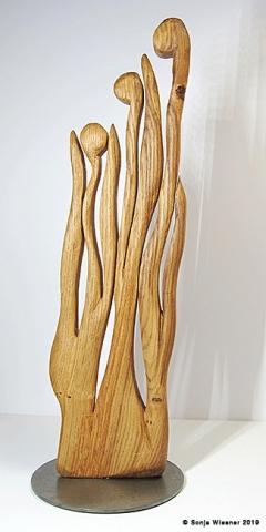 Skulptur, Eiche, zweiseitig, ca.  40 cm
