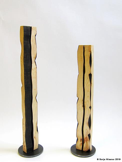 Skulpturen, Esche, vierseitig, 40-50 cm