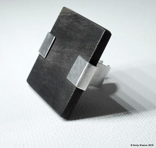 Ring, Ebenholz, 925/000 Silber