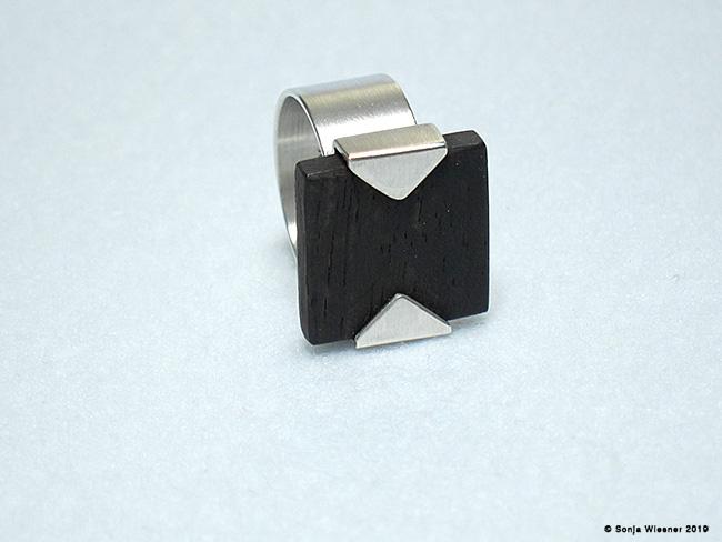 Ring, Ebenholz , 925/000 Silber